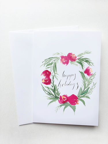 Happy Holidays Red Floral Wreath Card