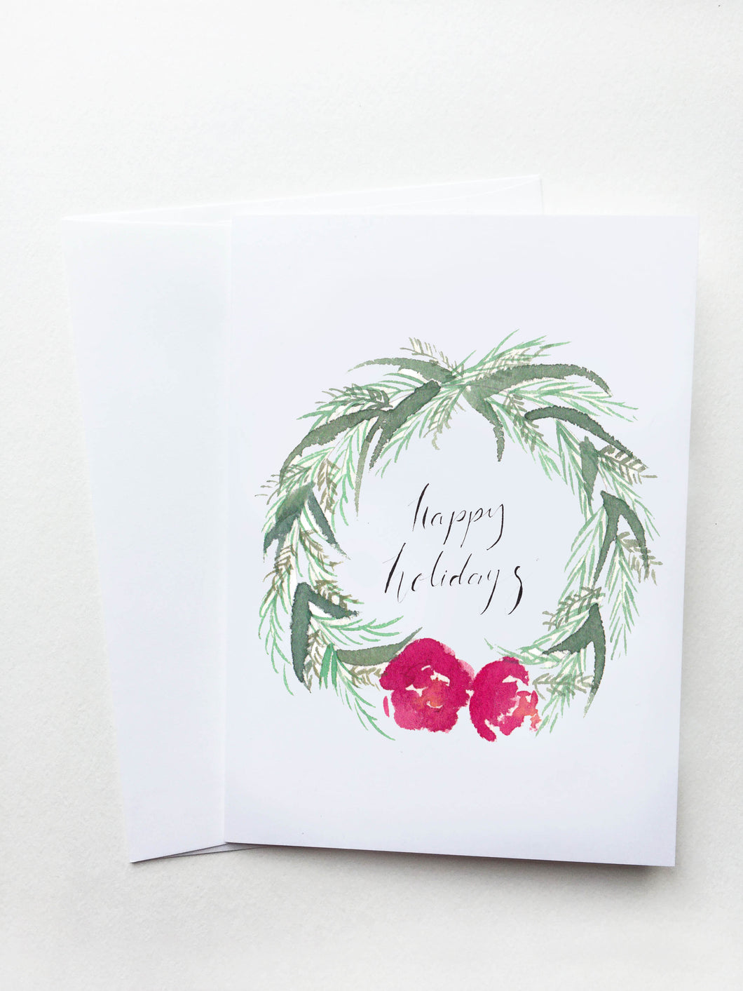 Happy Holidays Red Wreath Card