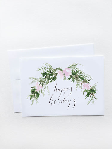 Happy Holidays Purple Garland Card