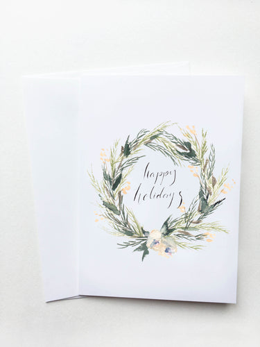 Happy Holidays White Floral Wreath Card