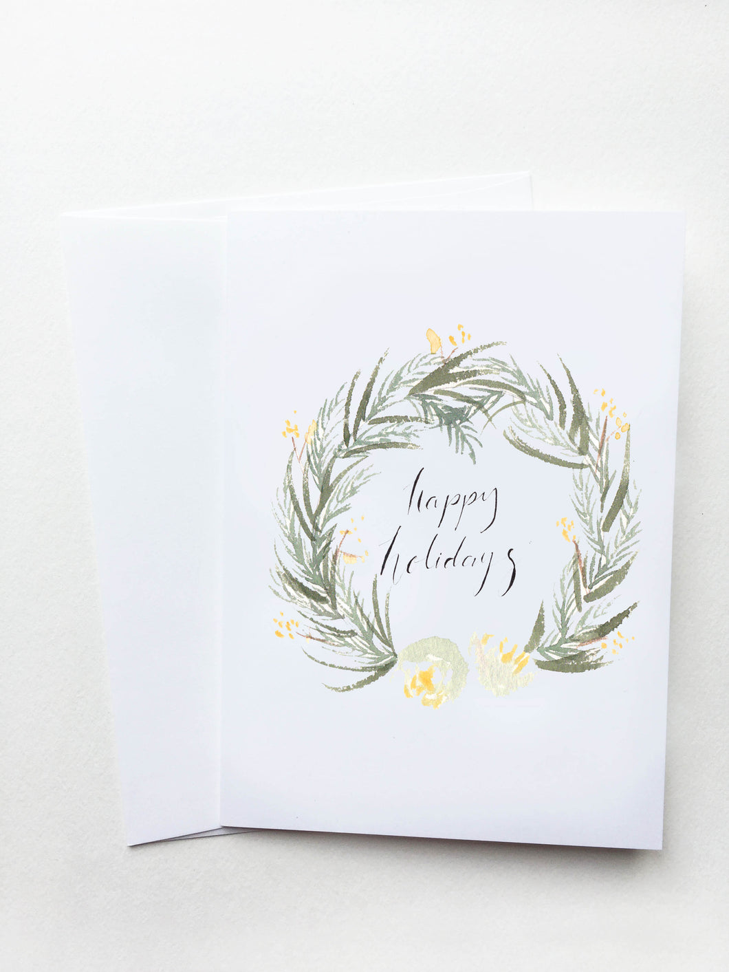 Happy Holidays White and Gold Floral Wreath Card