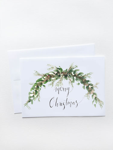 Merry Christmas Green Garland Card