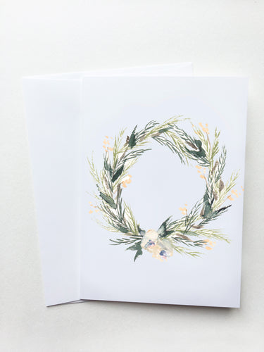White Floral Wreath Card