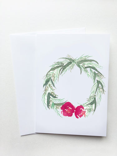 Red Floral Wreath Card
