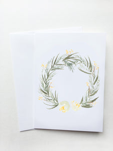 White and Gold Floral Wreath Card
