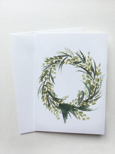 Dark Green Wreath Card