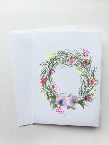 Violet Spring Wreath Card