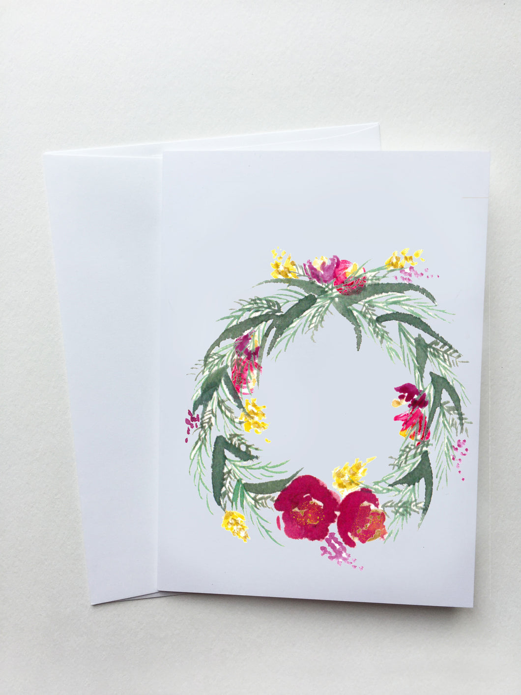 Red & Pink Spring Wreath Card