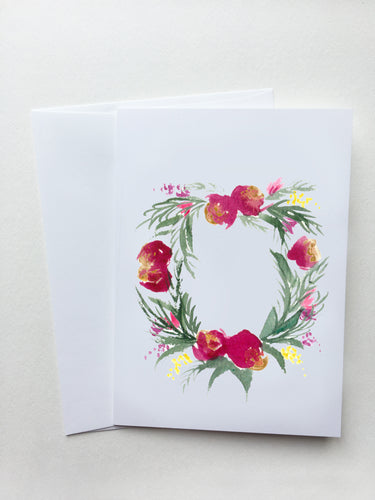 Red Spring Wreath Card