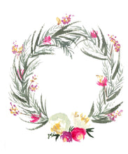 White & Pink Spring Wreath Card