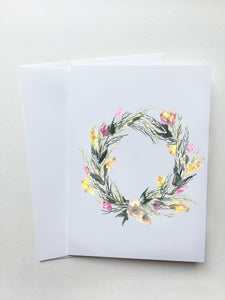 White Spring Wreath Card