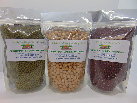 3 Bean Sprouting Seed Assortment Pack - (2 oz Adzuki Bean, 2 oz Garbanzo Bean, 2 oz Mung Bean). Country Creek Brand. Seeds for Microgreens