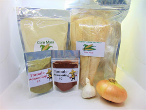Tamale Kit- Includes 2 Seasoning Packs, 25 Corn Husks, Corn Masa, 1 Onion, 1 Garlic Bulb (Makes 2 Dozen Tamales). Great for Any Occasion. - Country Creek Acres