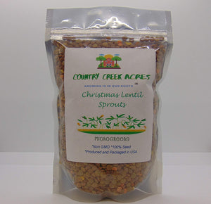 CHRISTMAS LENTILS SEEDS FOR SPROUTING, COUNTRY CREEK LLC BRAND,MICROGREENS, ORGANIC, NON-GMO - Country Creek LLC