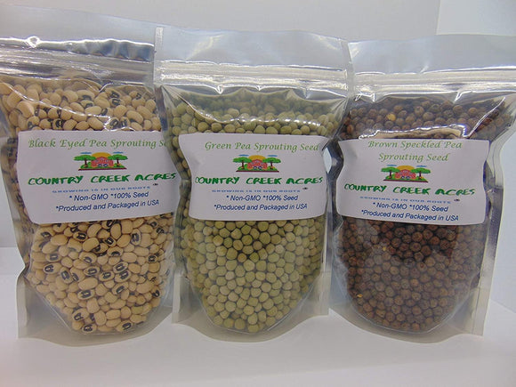 Pleased with My Peas Assortment Pack - (4 oz Green Pea Sprouting Seed, 4 oz Brown Speckled Pea Sprouting Seed and 4 oz Black Eyed Pea Sprouting Seed). Country Creek Brand. Seeds for Microgreens