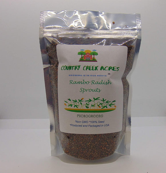 Rambo Radish Sprouting Seed, Non GMO - Country Creek Brand - Rambo Radish Sprouts, Garden Planting, Cooking, Soup, Emergency Food Storage, Vegetable Gardening, Juicing, - Country Creek LLC