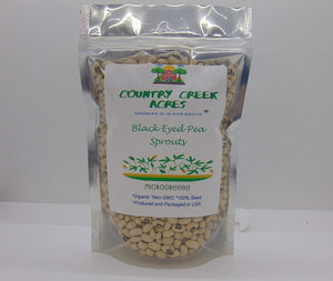 Black Eyed Pea Seed, Microgreen, Sprouting, Organic Seed, NON GMO - Country Creek LLC Brand - High Sprout Germination- Edible Seeds, Gardening, Hydroponics, Growing Salad Sprouts - Country Creek LLC