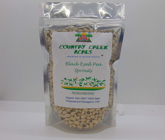 Black Eyed Pea Seed, Microgreen, Sprouting, Organic Seed, NON GMO - Country Creek LLC Brand - High Sprout Germination- Edible Seeds, Gardening, Hydroponics, Growing Salad Sprouts