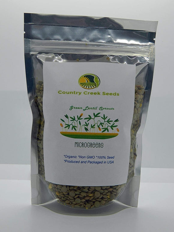 Green Lentil Seed, Microgreen, Sprouting, Organic Seed, NON GMO - Country Creek LLC Brand - High Sprout Germination- Edible Seeds, Gardening, Hydroponics, Growing Salad Sprouts