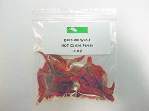 CAYENNE PEPPER, WHOLE DRIED, ORGANIC, .5 OZ, DELICIOUS FRESH SPICY DRIED HERB