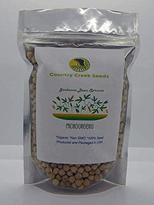 Garbanzo Bean Seed, Microgreen, Sprouting, Organic Seed, NON GMO - Country Creek LLC Brand - High Sprout Germination- Edible Seeds, Gardening, Hydroponics, Growing Salad Sprouts - Country Creek LLC