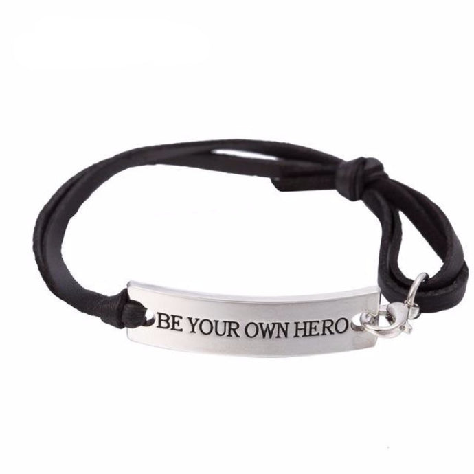 BE YOUR OWN HERO BLACK BRACELET