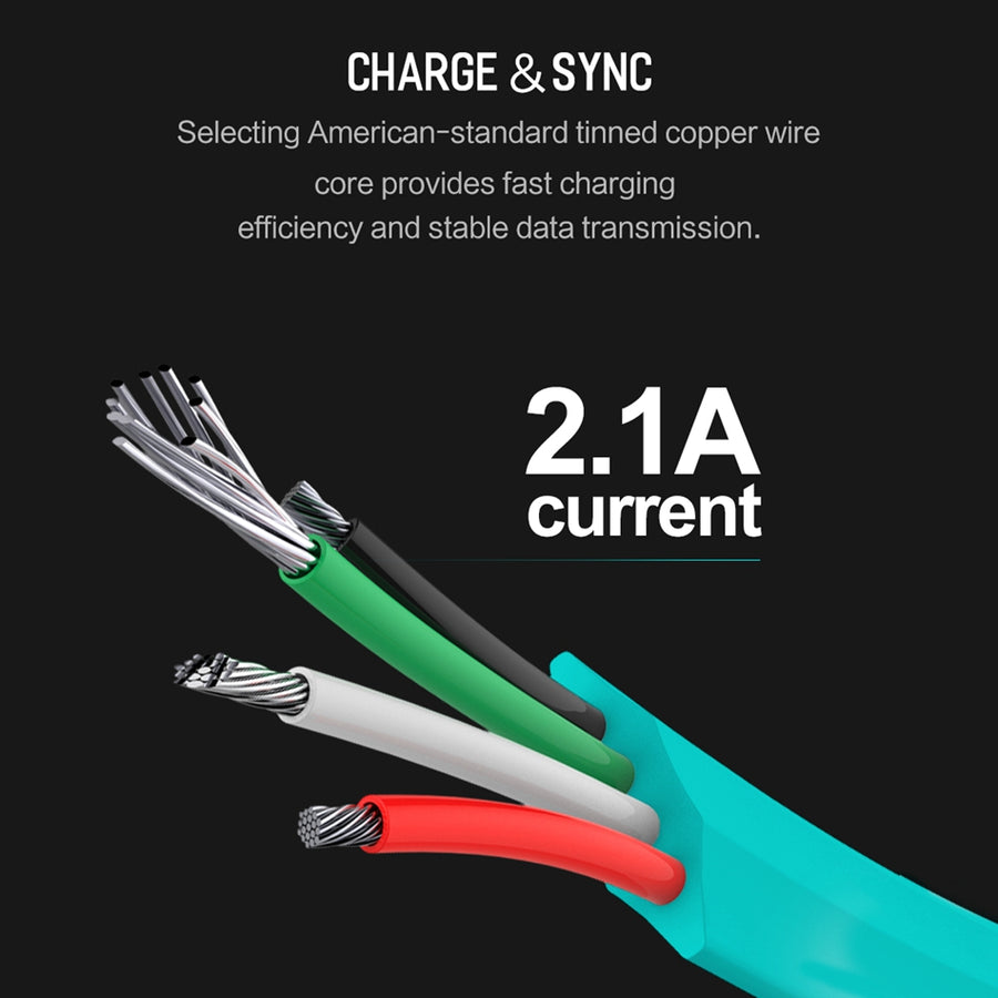 AUTO DISCONNECT IPHONE 8 7 6 PLUS, 2.1A LED LIGHT FAST CHARGING USB CABLE FOR IPHONE