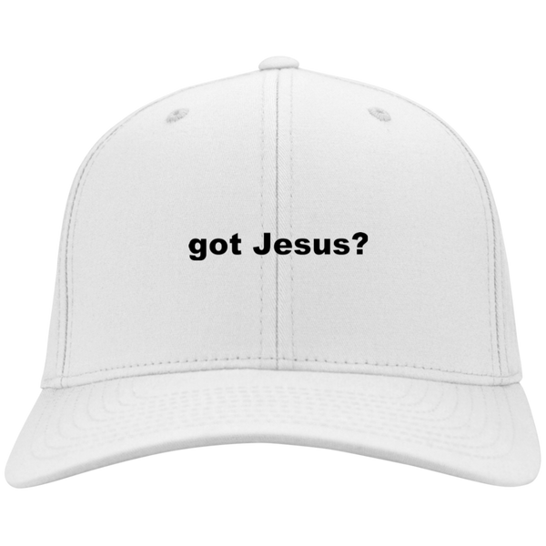 'got Jesus?' Sport-Tek 91% nylon, 9% cotton, adjustable, twill Embroidered Cap