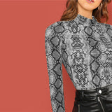 Night Out Multicolor Mock Neck Grid Fitted Stand Collar Long Sleeve T-shirt