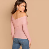White Asymmetrical Neck Solid Tee Rib-Knit Slim Fit Long Sleeve Shirt