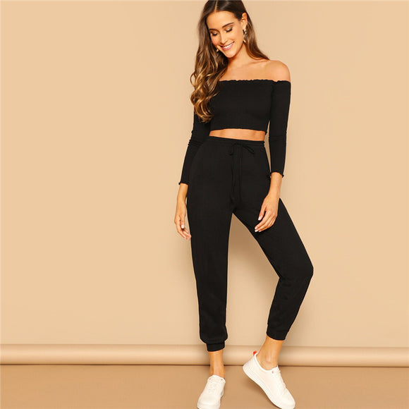 2 Piece Set Top and Pants Casual Set Off the Shoulder Crop Bardot Top and Drawstring Pants Set