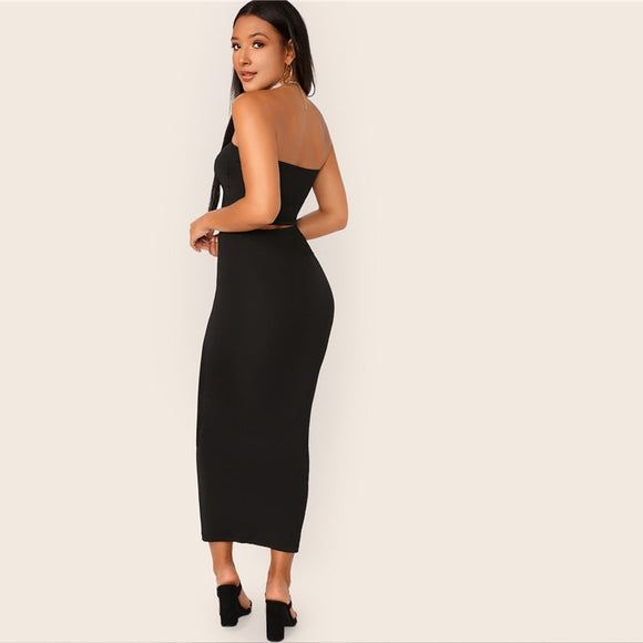 Black Solid Tube Crop Top and Long Pencil Skirt Set