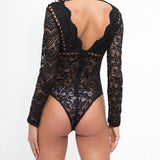 Women Black White Lace Bodysuits Femme Body Backless