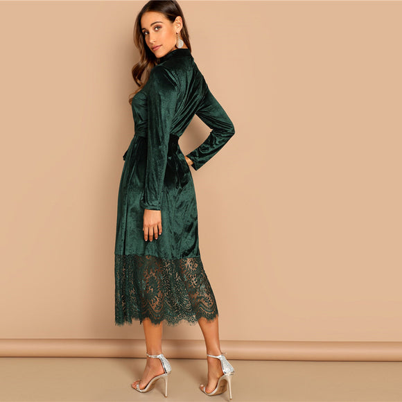 Waist Belted Mock-Neck Velvet Dress Long Sleeve Lace Hem Solid Dress