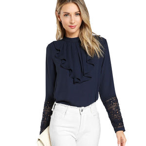 Ruffle Blouse Elegant Contrast Lace Button Round Neck Long Sleeve Lace Top