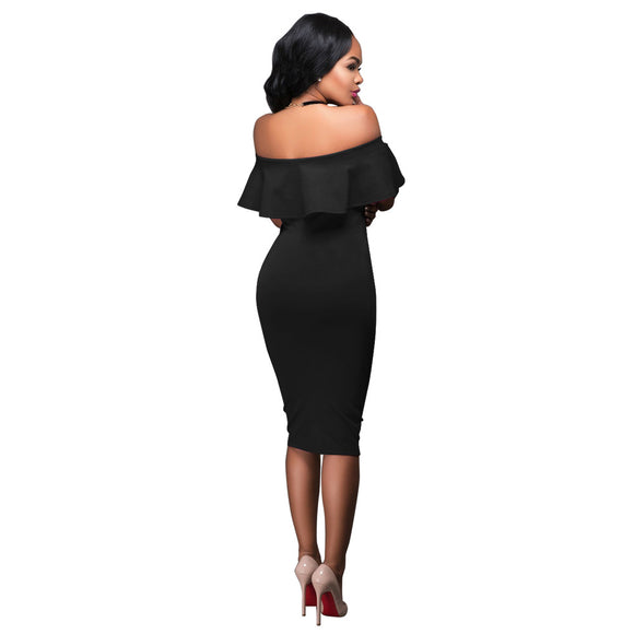 Backless Ruffles Party Slim Bodycon Midi Dress