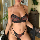 Lace Underwear Embroidery Transaprent Bra Brief Set