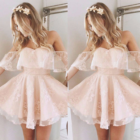 Formal Lace Dress Summer Prom Off Shoulder Party Wedding Gown