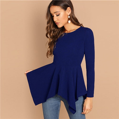 Asymmetrical Hem Peplum Tee Elegant Plain Long Sleeve Round Neck Top