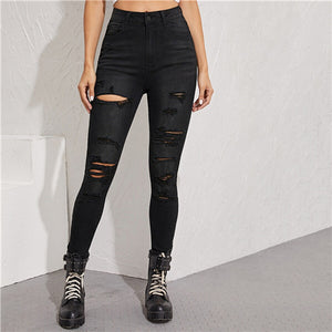 Black Frayed Edge Ripped Skinny Cropped Jeans