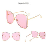 New Brand Pearls Half Round Sunglasses Women