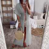 Lace Beach Cover Up Long Cardigan Lace Up Swimwear Beach Dress