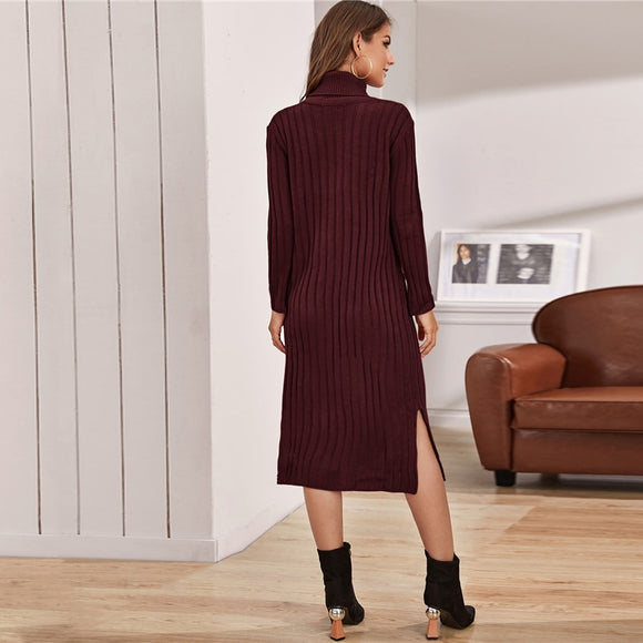 Funnel Neck Solid Ribbed knit Sweater Dress (Without Belt)