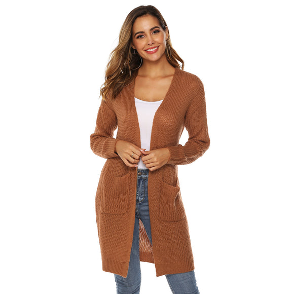 Autumn Solid Color Large Pocket Sweater Cardigan Middle Long Over-the-knee Thin Overcoat