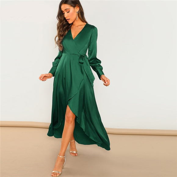 Green Solid Surplice Wrap Knot High Waist Belted Maxi Plain V Neck Dress