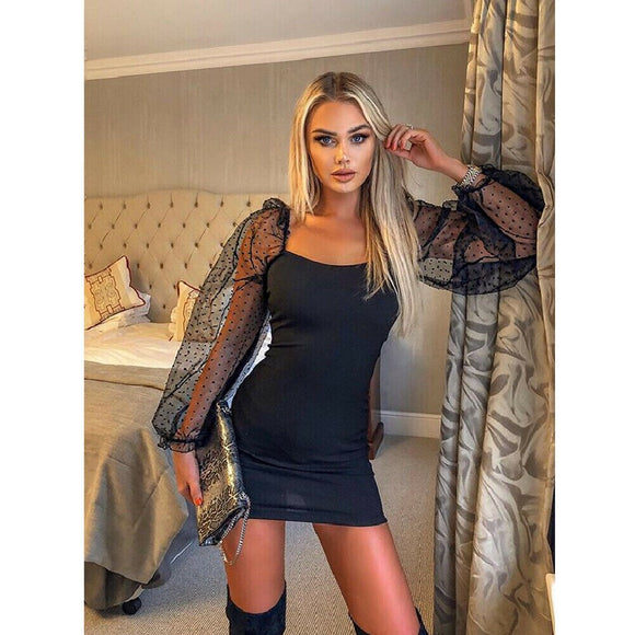 Bandage Slim Sheath Sexy Mesh Sheer Long Sleeve Dress