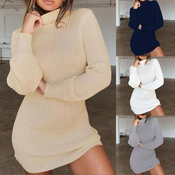 Knitted High Neck Slim Mini Dress