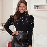 Stand Collar Black Pearl Beading Elegant Blouse