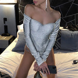 Glitter Women Body Sexy Bodysuits Deep V-neck