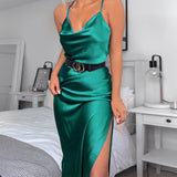 Silk satin women midi side strap slit backless dress